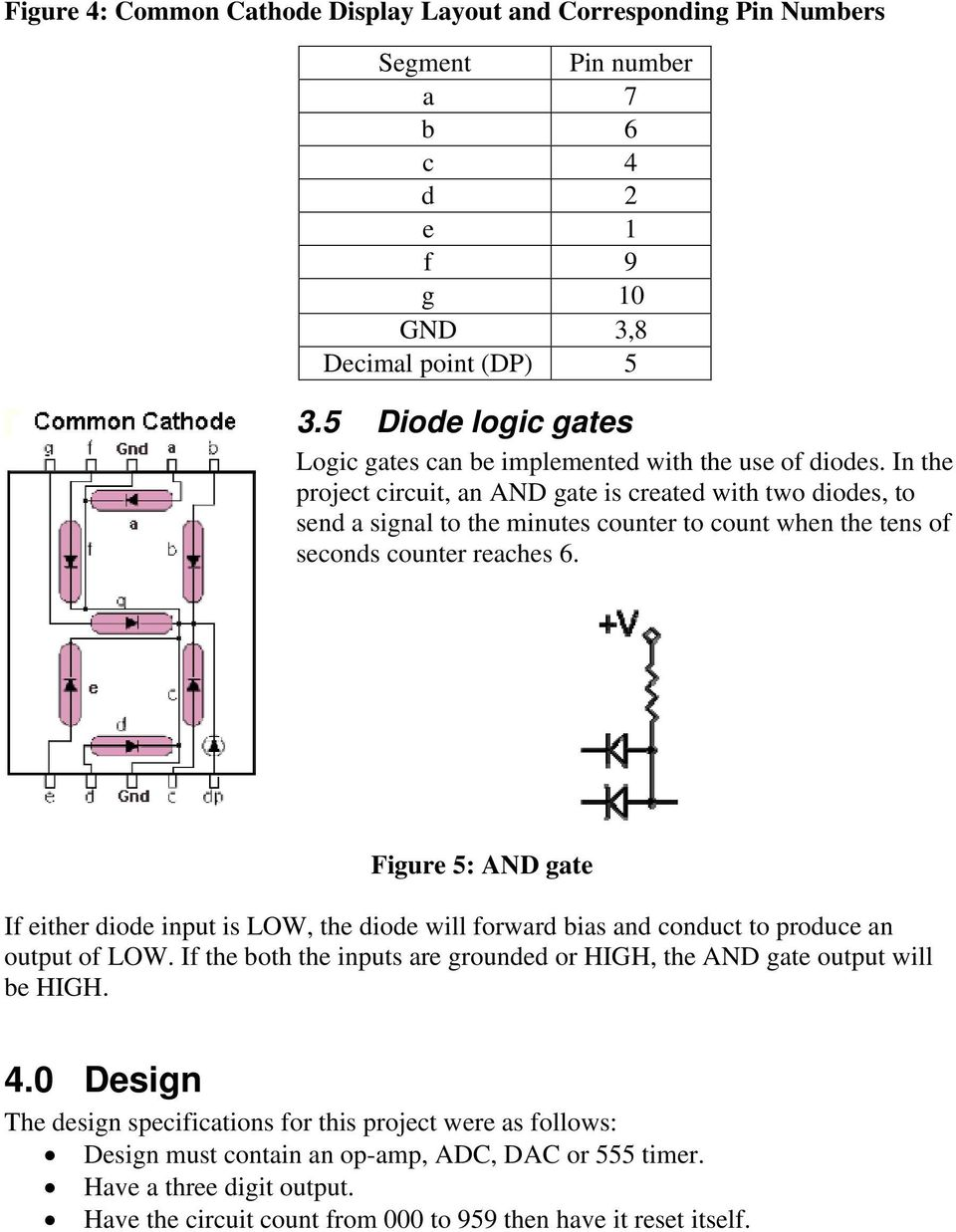 A Digital Timer Implementation Using 7 Segment Displays Pdf Counter Circuit Design In The Project An And Gate Is Created With Two Diodes To Send