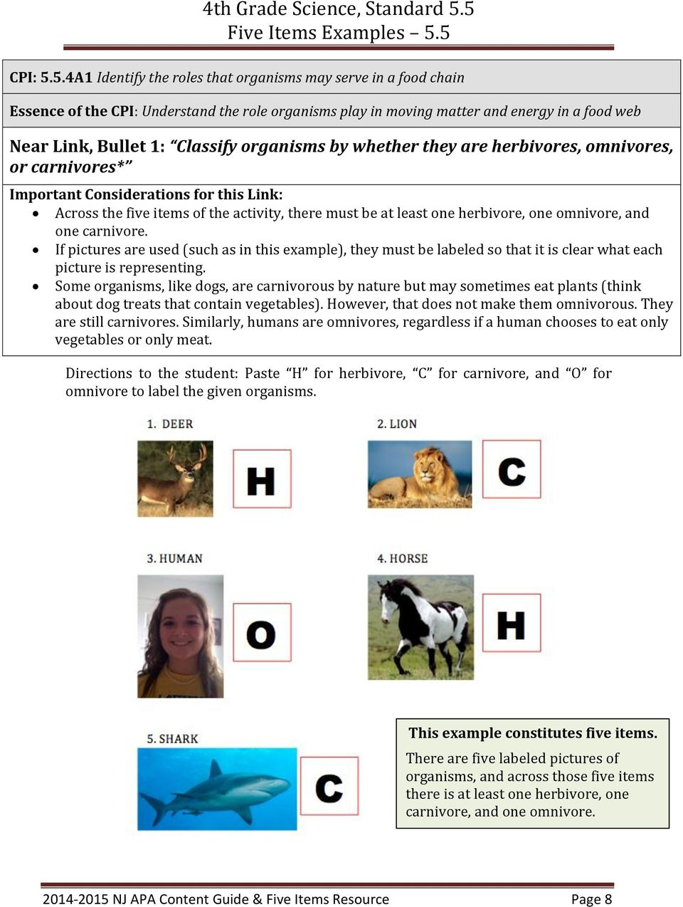 organisms by whether they are herbivores, omnivores, or carnivores* Important Considerations for this Link: Across the five items of the activity, there must be at least one herbivore, one omnivore,