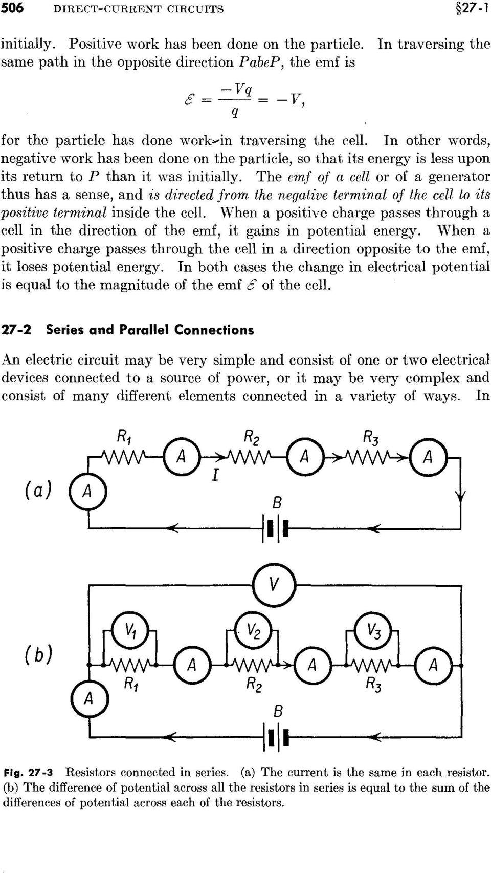 Physics Chapter 27 Direct Current Circuits Pdf Parallel The Cells Are Connected In All Other Words Negative Work Has Been Done On Particle So That Its