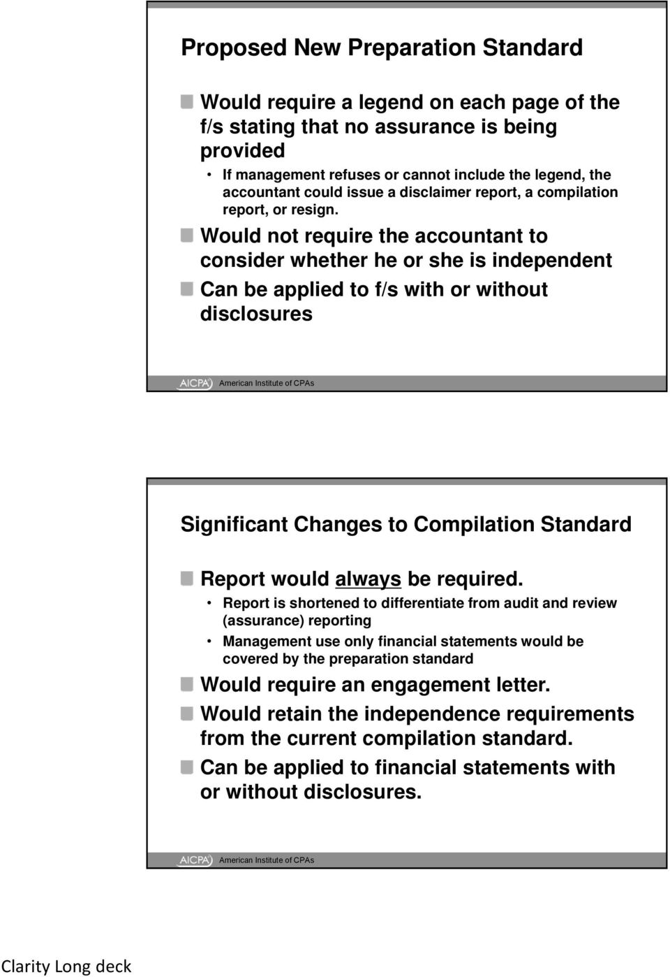 Audit, Review, Compilation, and Preparation of Financial Statements