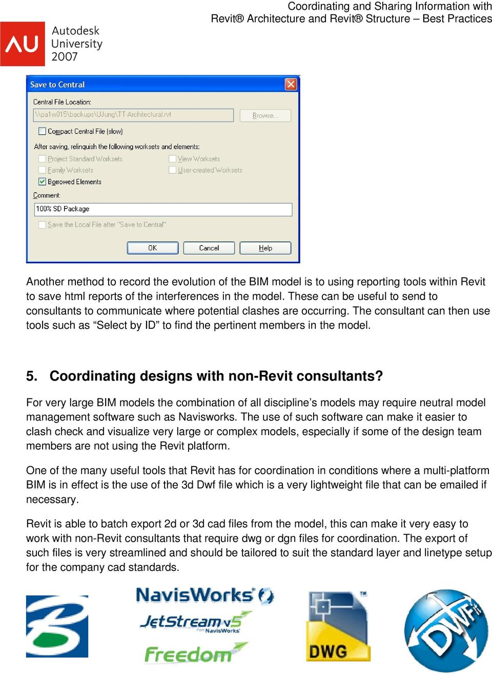 Coordinating and Sharing Information with Revit Architecture and