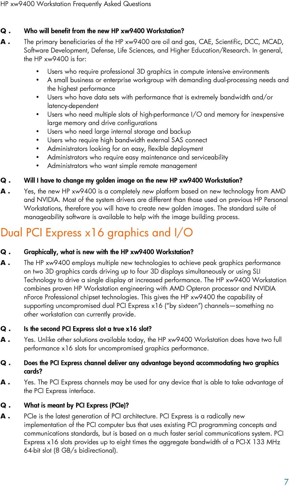 HP xw9400 Workstation  Frequently Asked Questions  Index