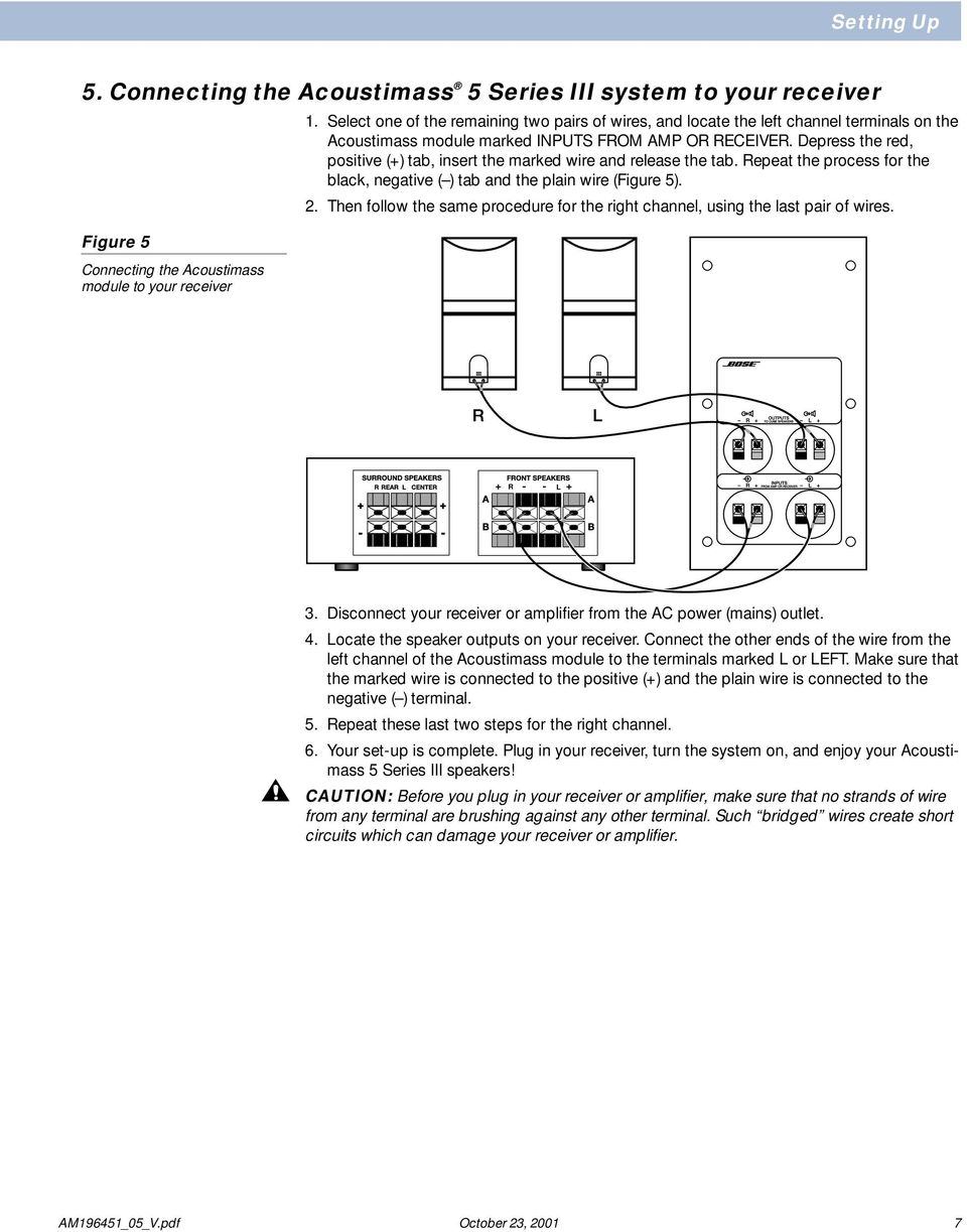 The Bose Acoustimass 5 Series Iii Speaker System Owner S Guide 301 Iv Box Wiring Diagram Depress Red Positive Tab Insert Marked Wire And Release