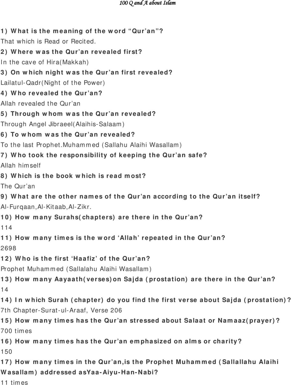 100 Q and A about Islam - PDF