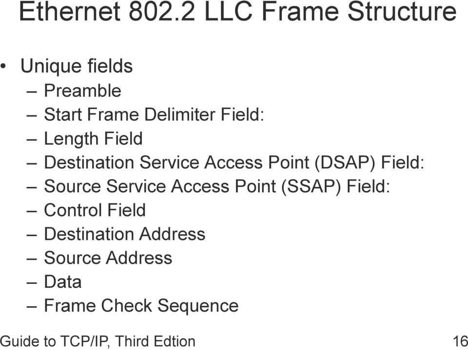 Length Field Destination Service Access Point (DSAP) Field: Source
