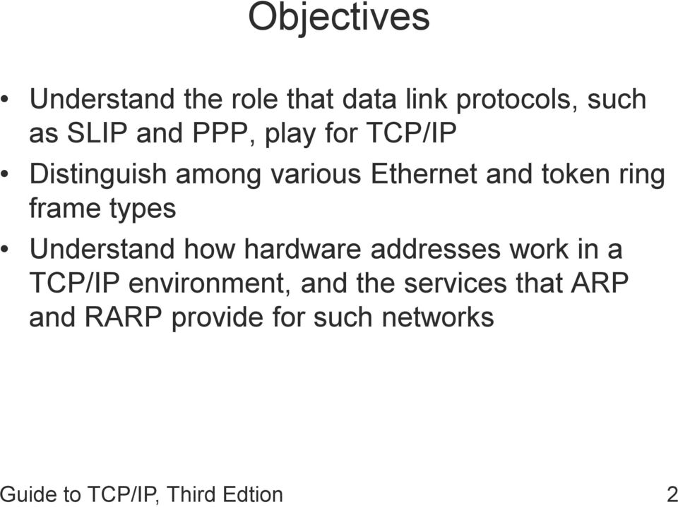 Understand how hardware addresses work in a TCP/IP environment, and the
