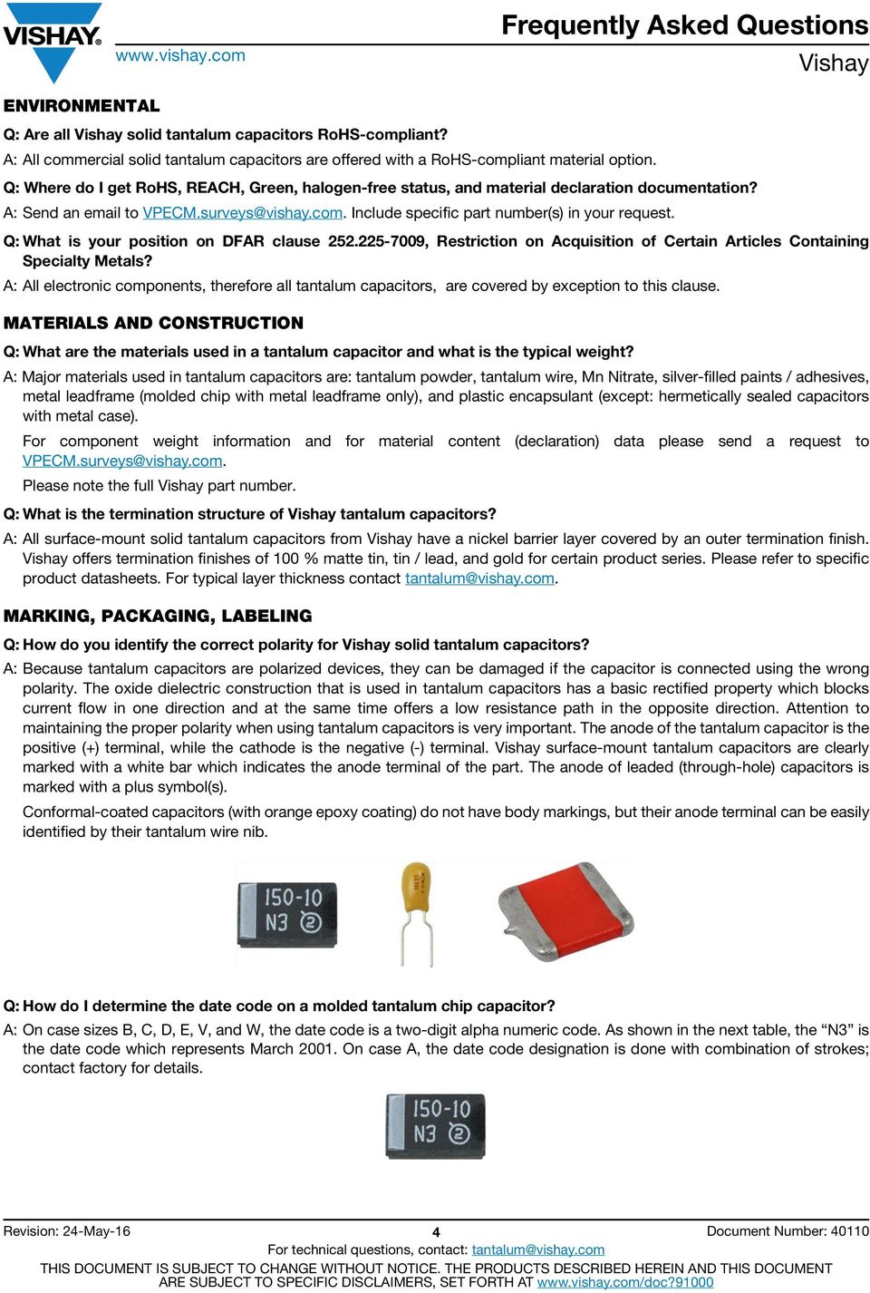 Solid Tantalum Capacitors Frequently Asked Questions (FAQs