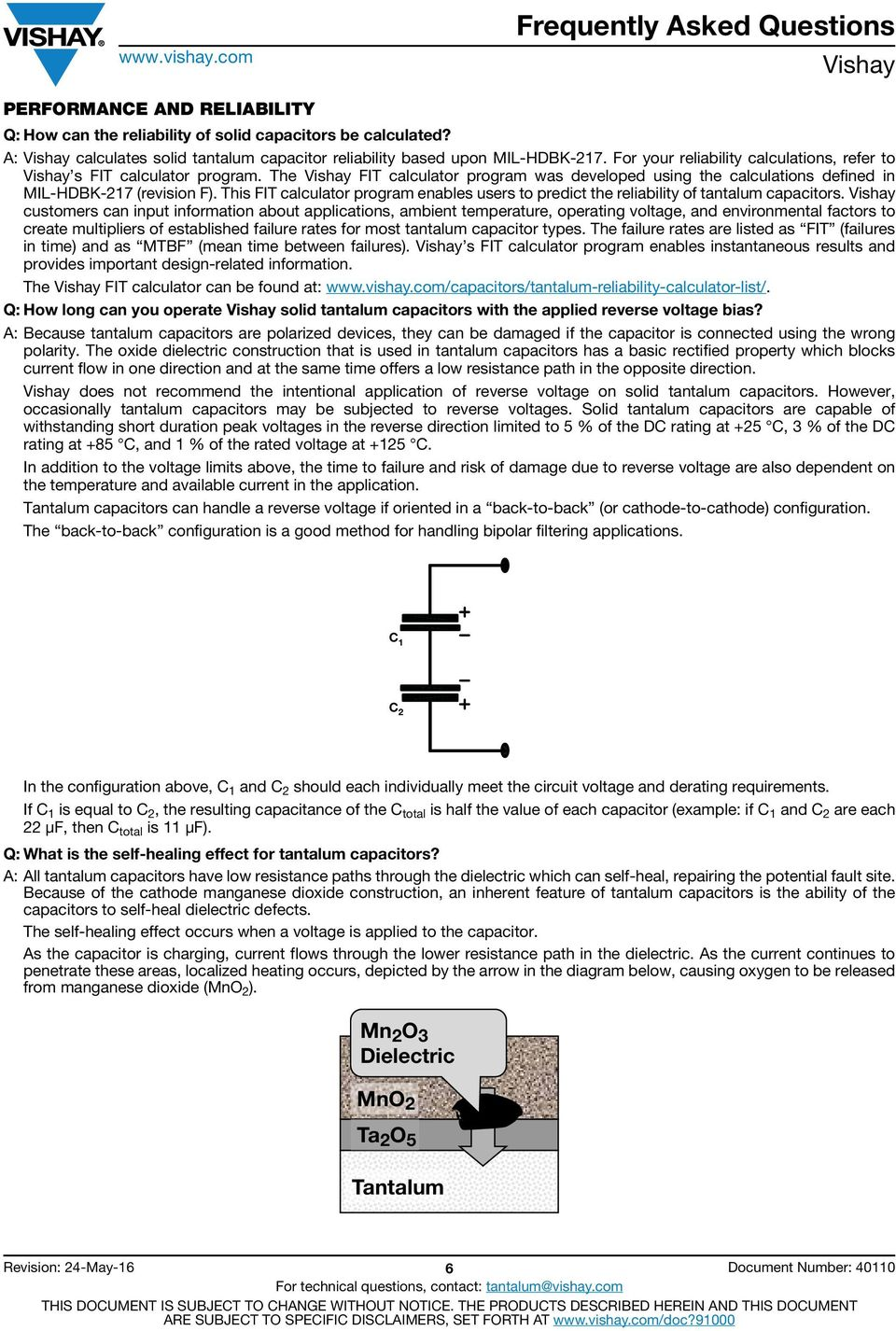 Solid Tantalum Capacitors Frequently Asked Questions Faqs Pdf Multiple Anode Capacitor This Fit Calculator Program Enables Users To Predict The Reliability Of