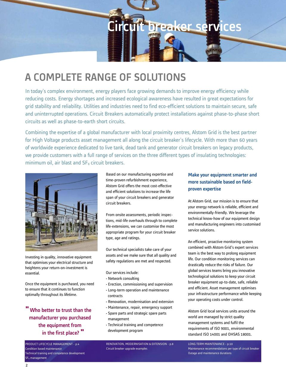 Alstom Grid Services Circuit Breaker Lifecycle Management Pdf Generator Manufacturers In Utilities And Industries Need To Find Eco Efficient Solutions Maintain Secure Safe 3