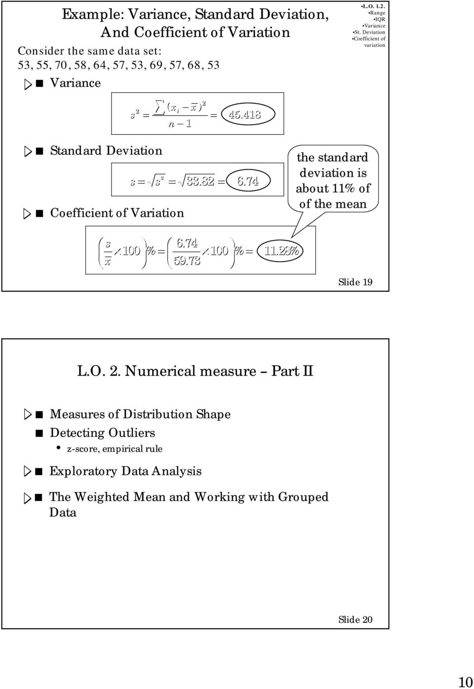Chapter 3 Descriptive Statistics: Numerical Measures  Learning
