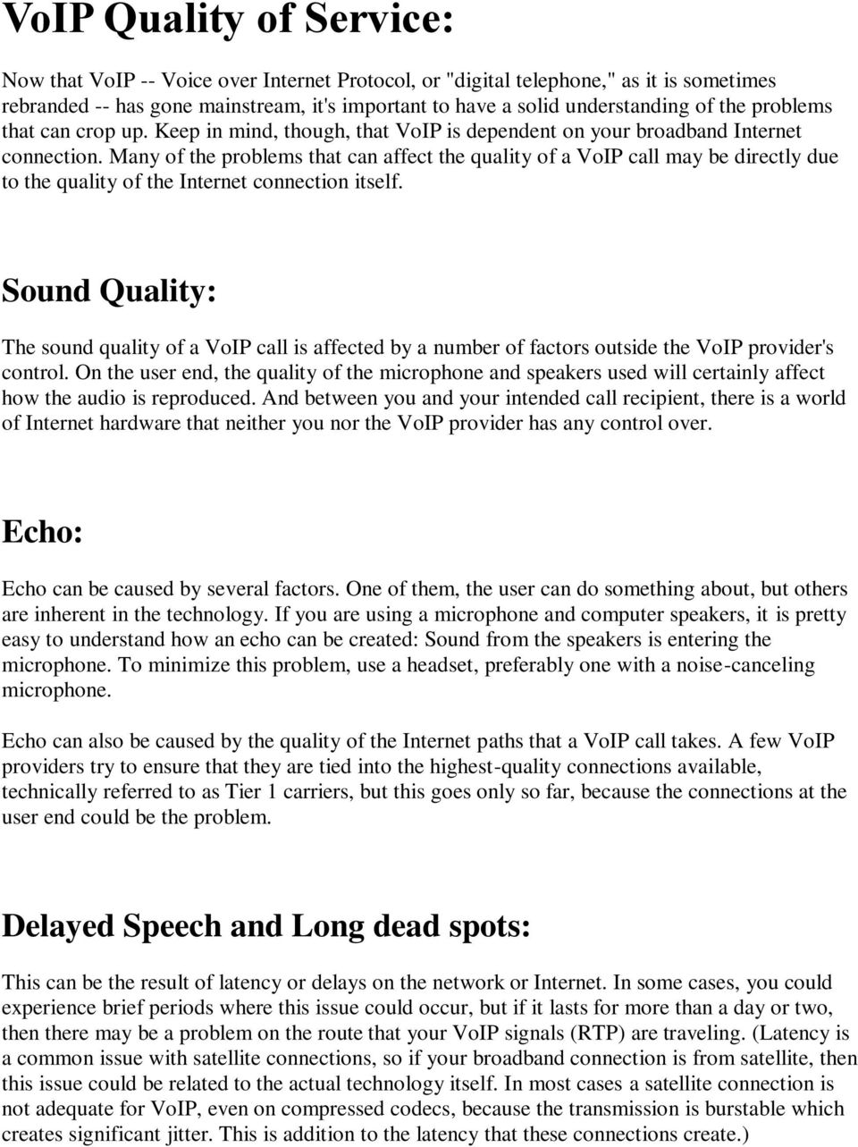 VoIP Quality of Service: - PDF