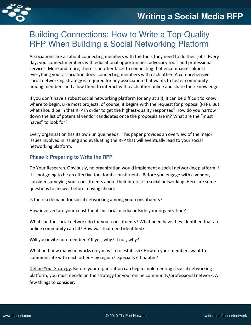 Building Connections: How to Write a Top-Quality RFP When Building a