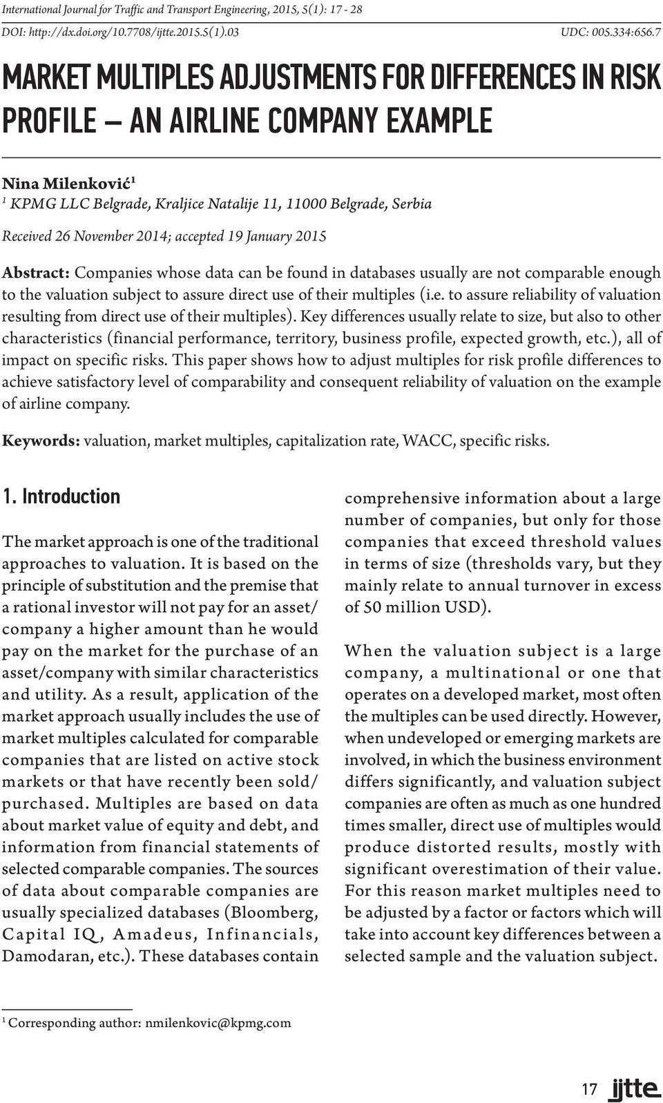 MARKET MULTIPLES ADJUSTMENTS FOR DIFFERENCES IN RISK PROFILE