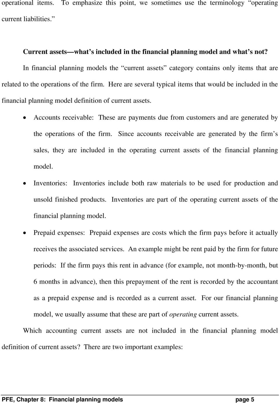 chapter 8: financial planning models * - pdf