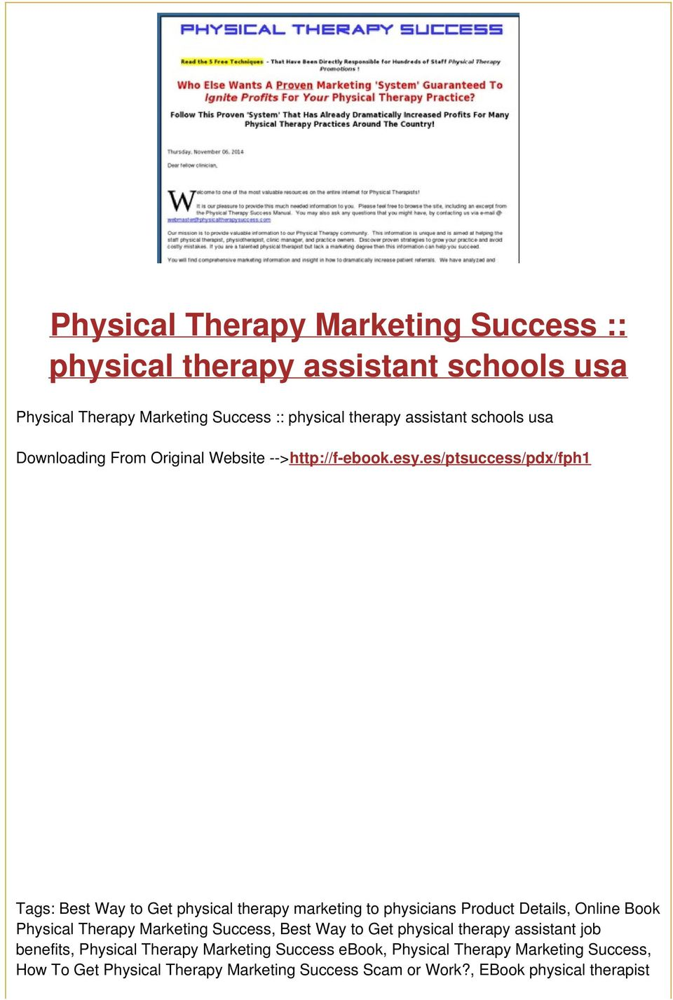 es/ptsuccess/pdx/fph1 Tags: Best Way to Get physical therapy marketing to physicians Product Details, Online Book Physical Therapy Marketing