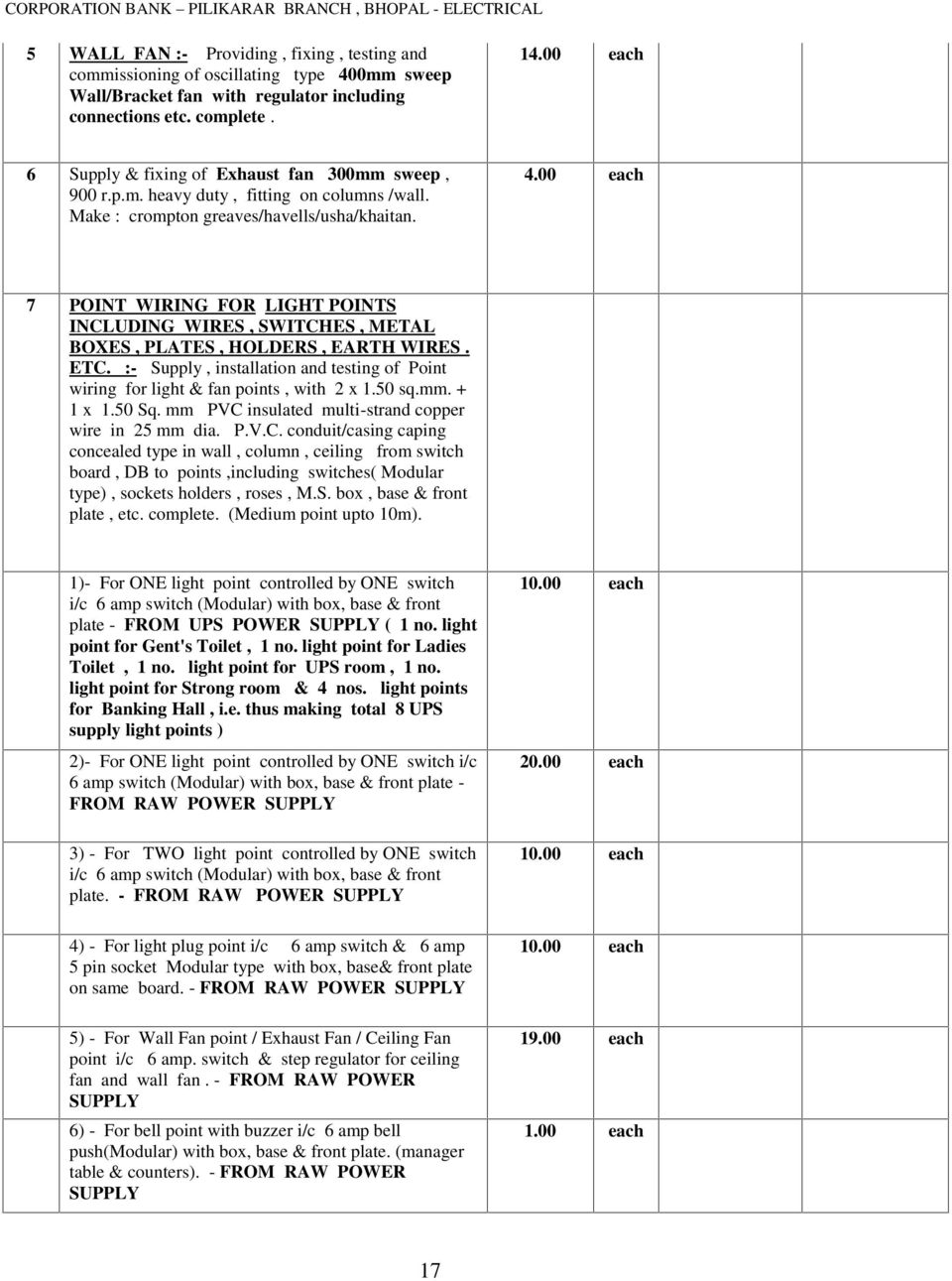 Corporation Bank Tender Document Of Electrical Work At Pilikarar Wiring Power Points 00 Each 7 Point For Light Including Wires Switches Metal Boxes