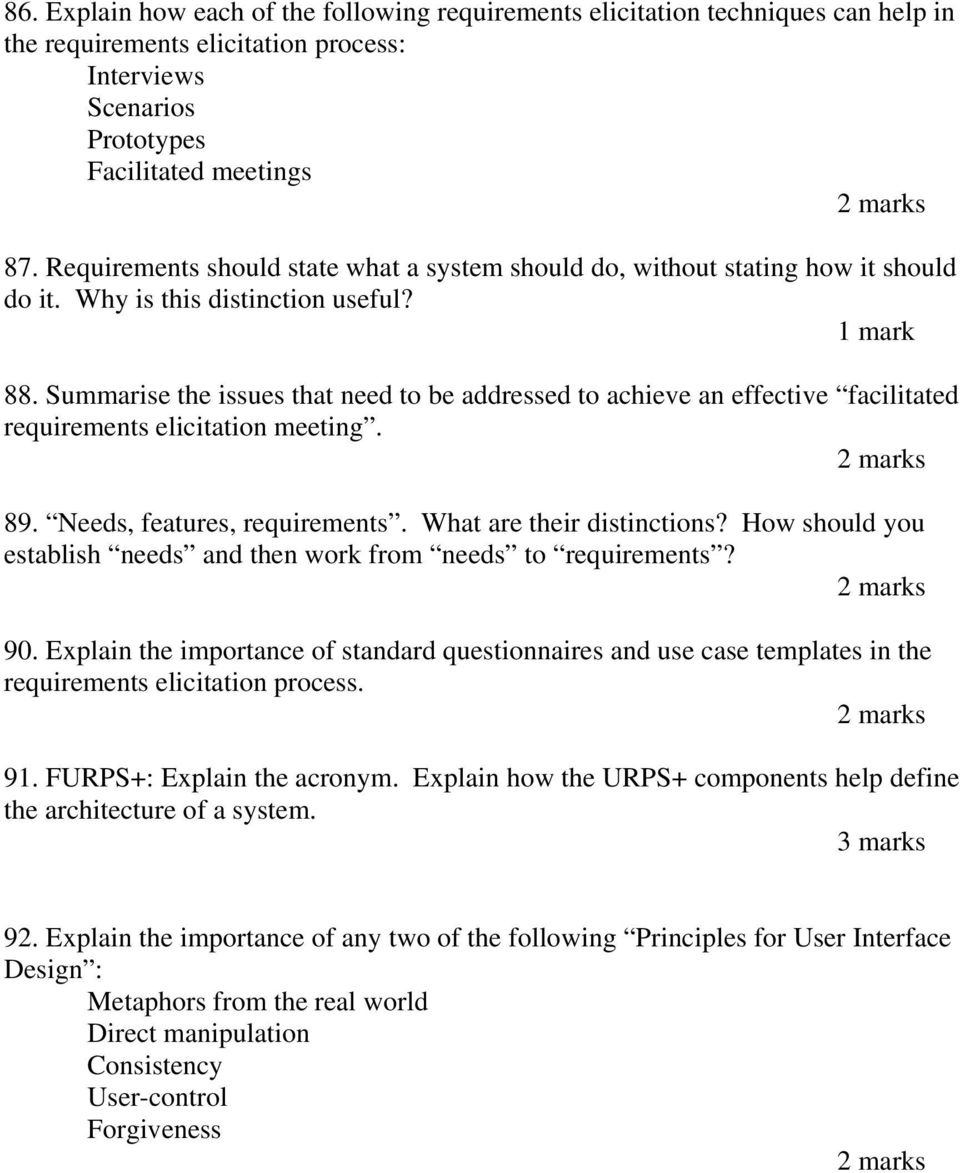 CSCI222  Revision Questions  1  Characterize walkthroughs and