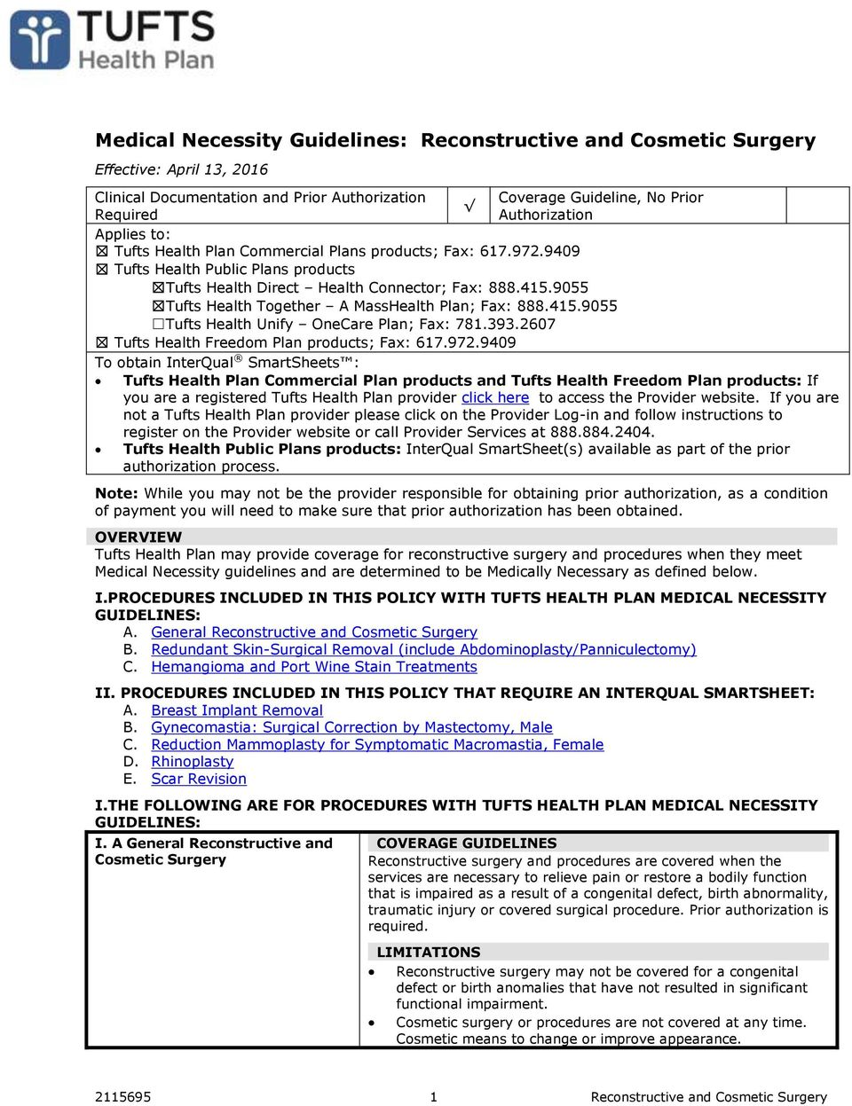 Medical Necessity Guidelines Reconstructive And Cosmetic Surgery Pdf