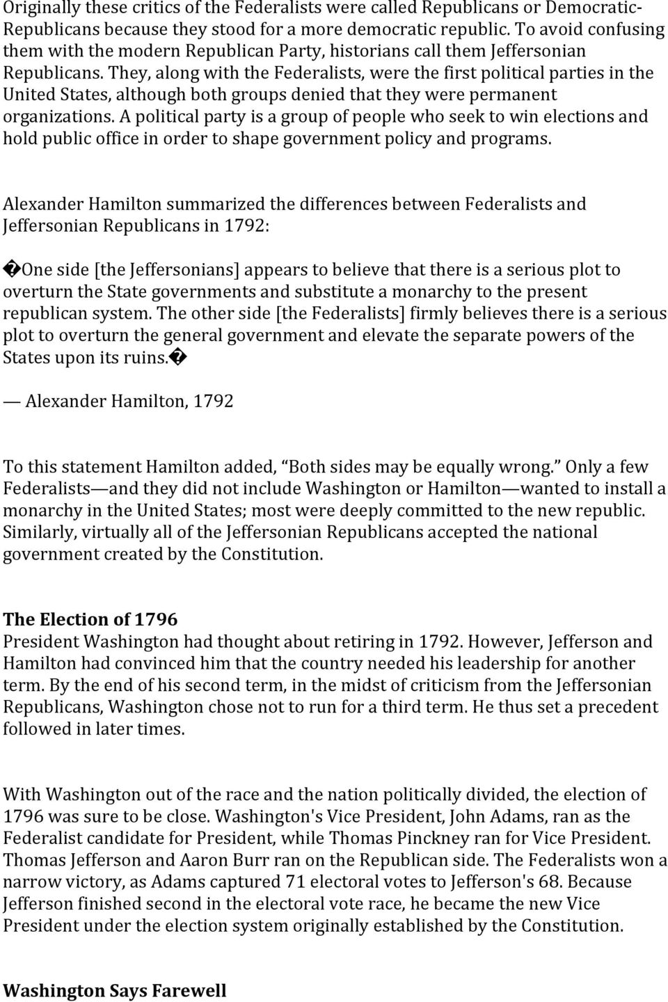 differences between federalists and republicans