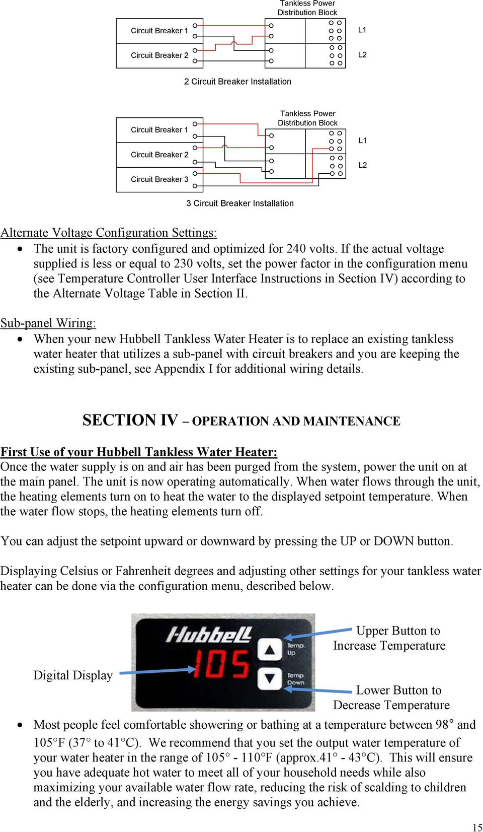 Installation Operation And Maintenance Manual For The Hubbell Heating Element Circuit If Actual Voltage Supplied Is Less Or Equal To 230 Volts Set Power