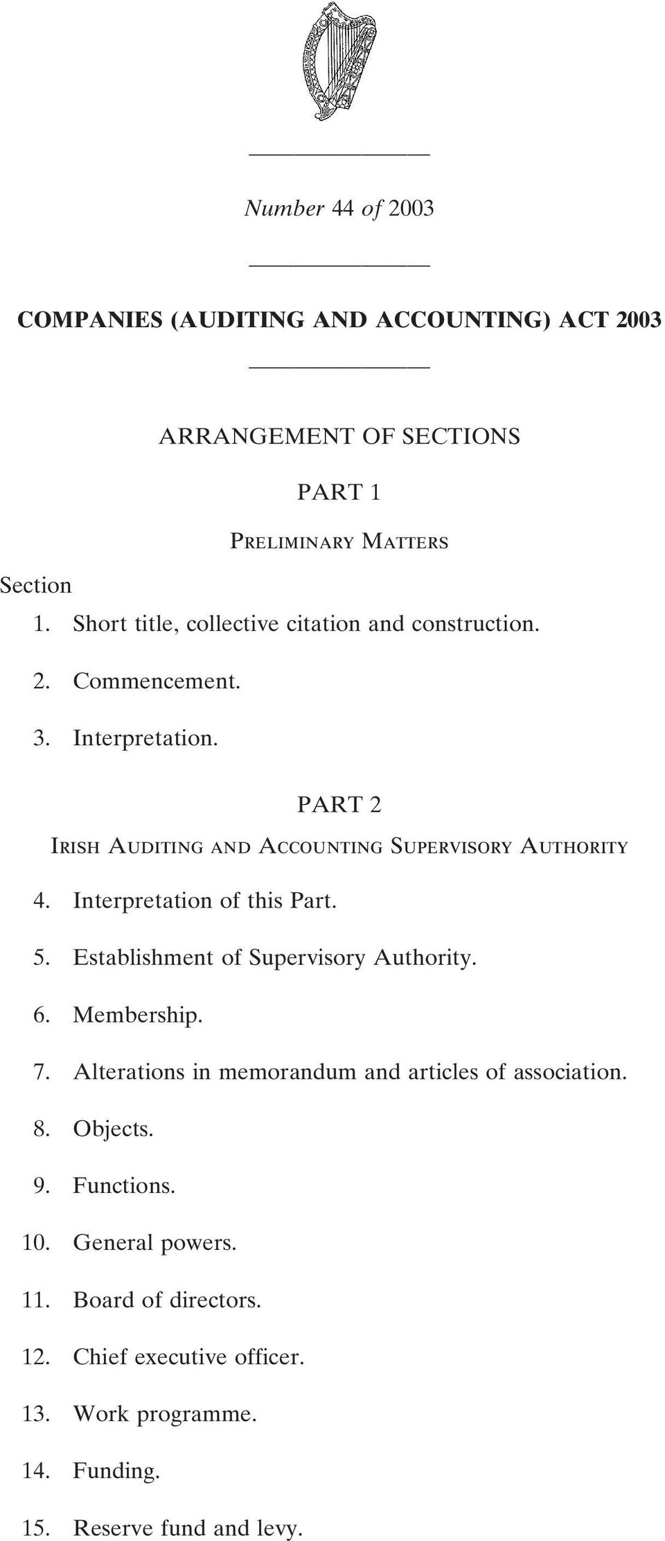 PART 2 Irish Auditing and Accounting Supervisory Authority 4. Interpretation of this Part. 5. Establishment of Supervisory Authority. 6.