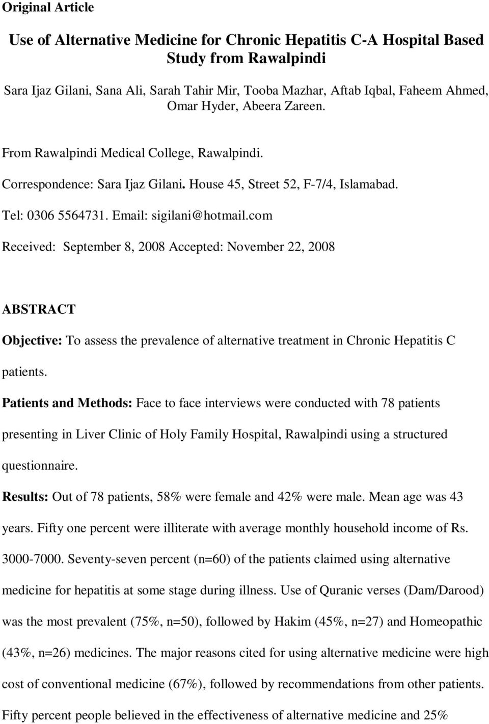 Use of Alternative Medicine for Chronic Hepatitis C-A Hospital Based
