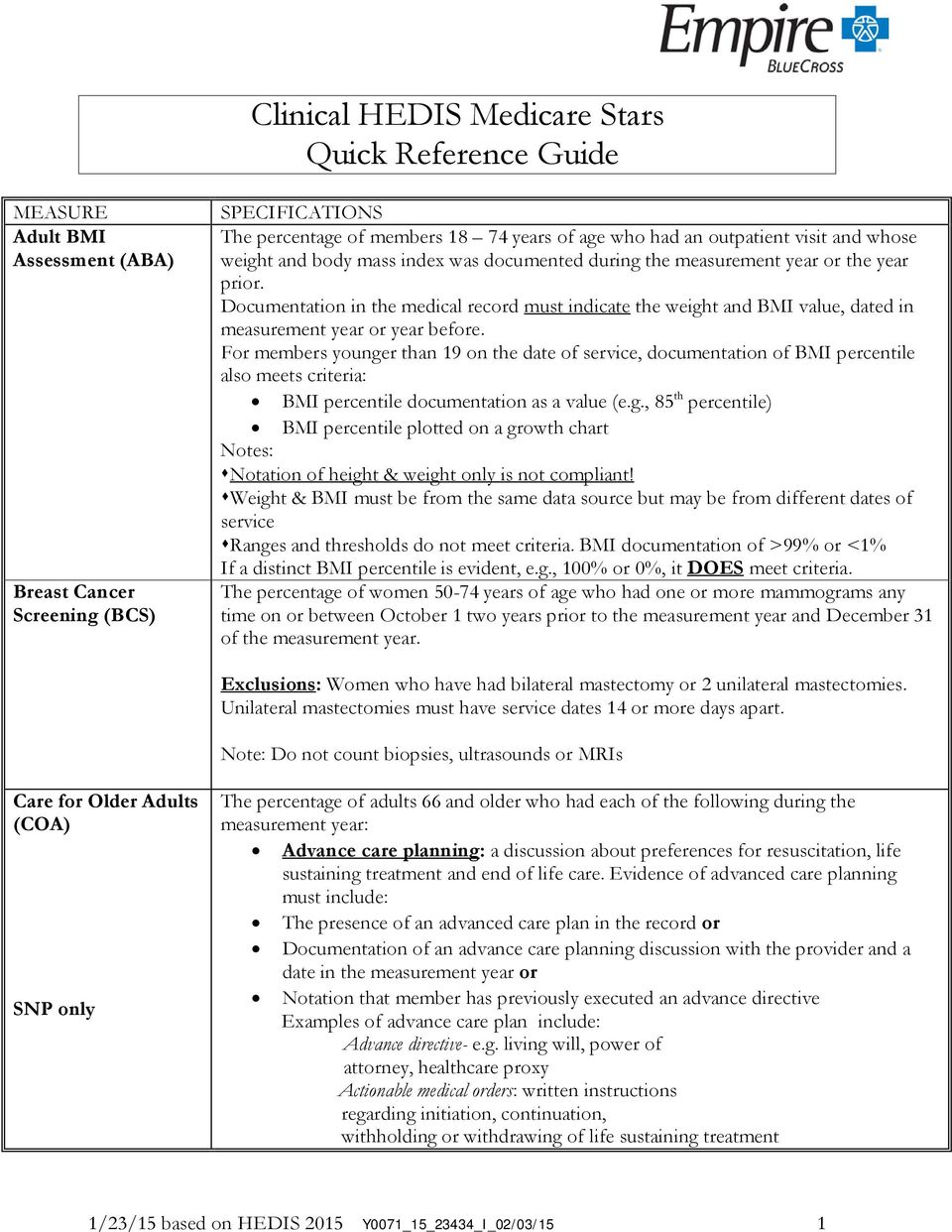 clinical hedis medicare stars quick reference guide pdf rh docplayer net HEDIS Measures 2014 HEDIS 2014 Volume 2