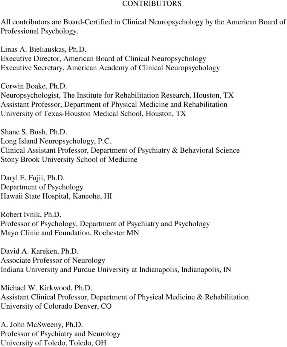 AMERICAN ACADEMY OF CLINICAL NEUROPSYCHOLOGY STUDY GUIDE FOR