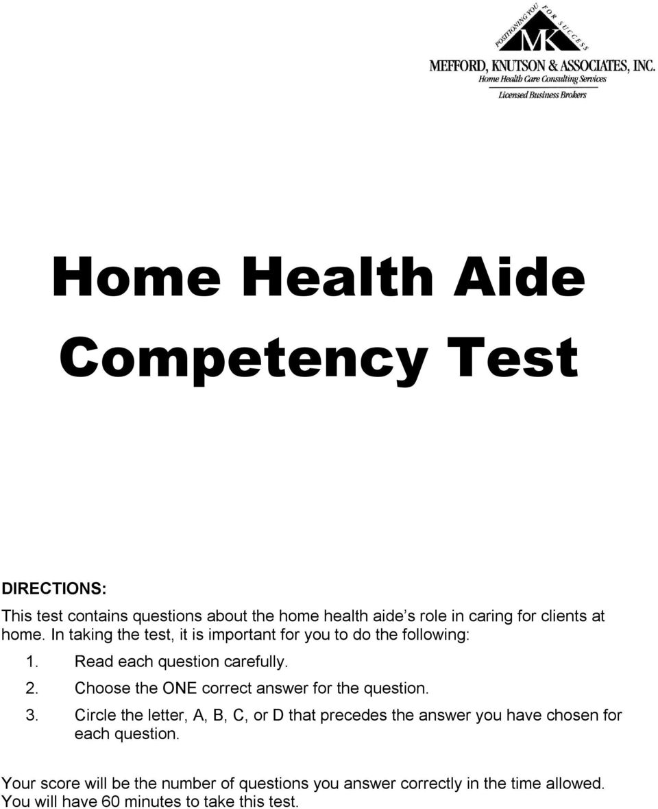 home health aide competency test answers