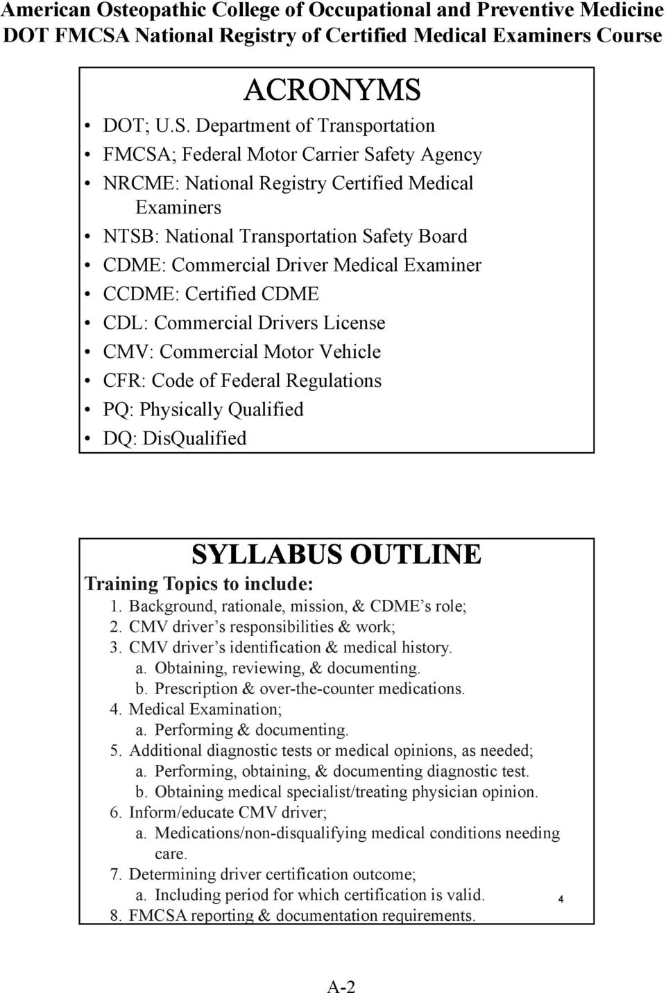 Federal Motor Carrier Safety Agency (FMCSA) National