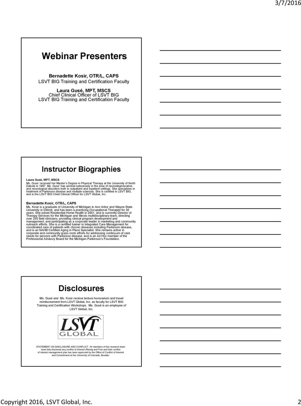 Evidence Based Physical And Occupational Therapy Treatment Lsvt Big