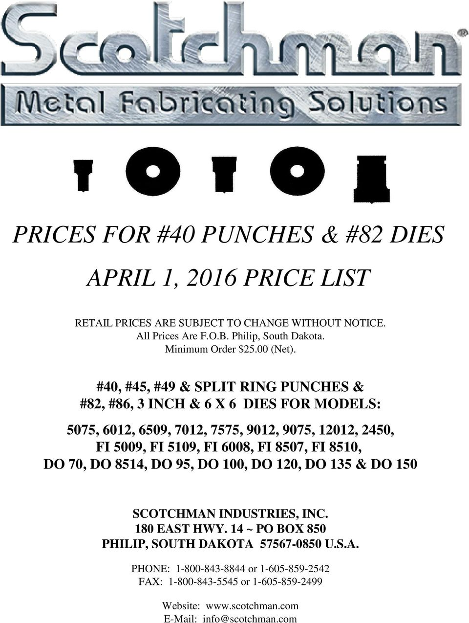 PRICES FOR #40 PUNCHES & #82 DIES APRIL 1, 2016 PRICE LIST - PDF
