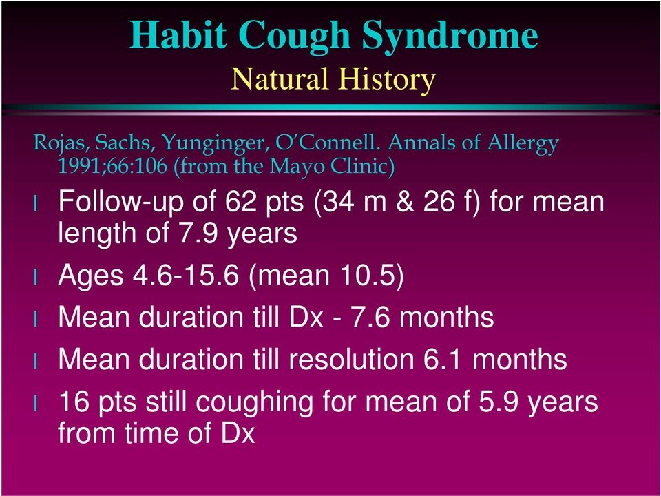 Habit Cough Syndrome and Its Variations  Miles Weinberger