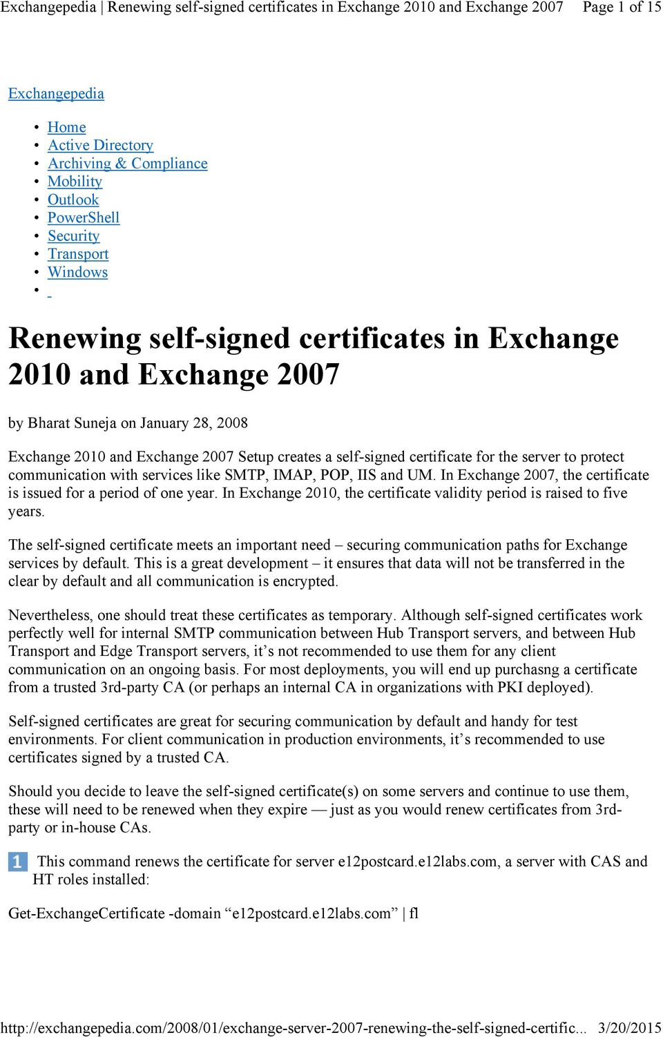Renewing Self Signed Certificates In Exchange 2010 And Exchange Pdf