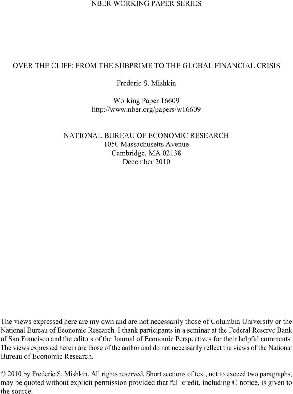 financial crisis research paper