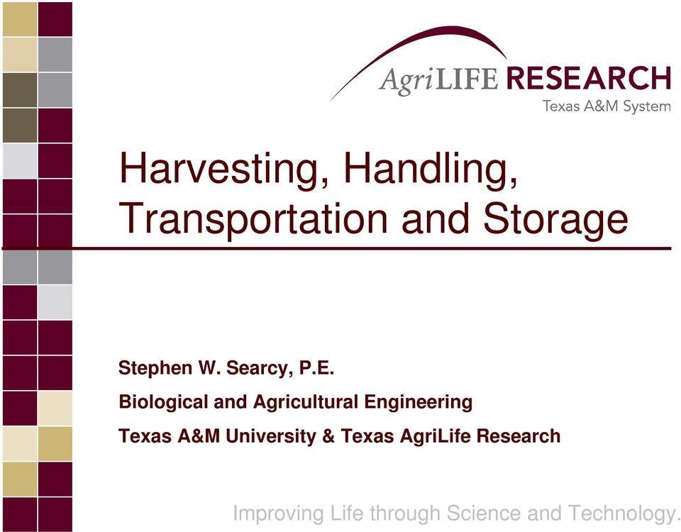 Biological and Agricultural Engineering Texas A&M