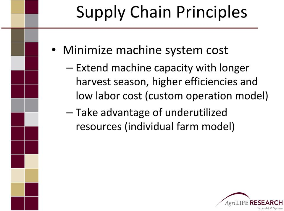 efficiencies and low labor cost (custom operation model)