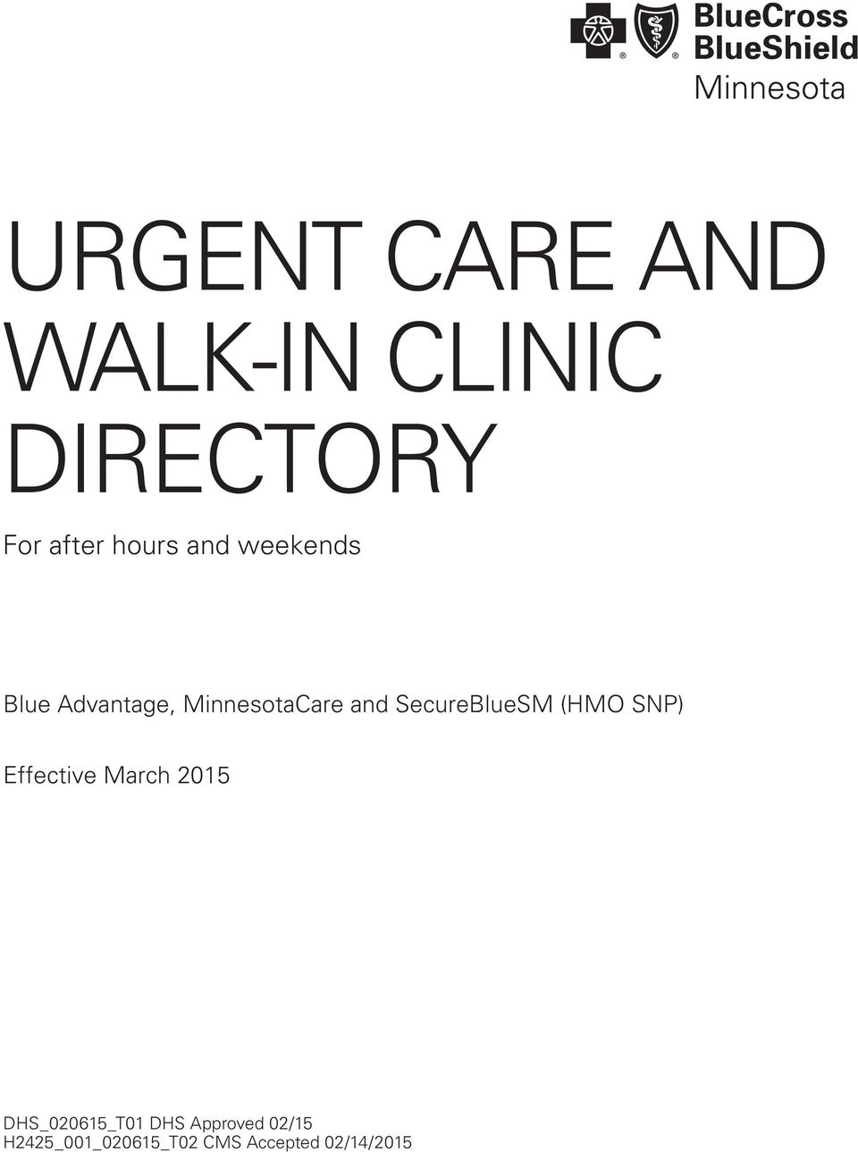 URGENT CARE AND WALK-IN CLINIC DIRECTORY - PDF