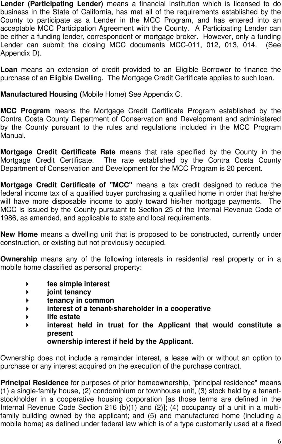 Mortgage Credit Certificate Program Table Of Contents Pdf