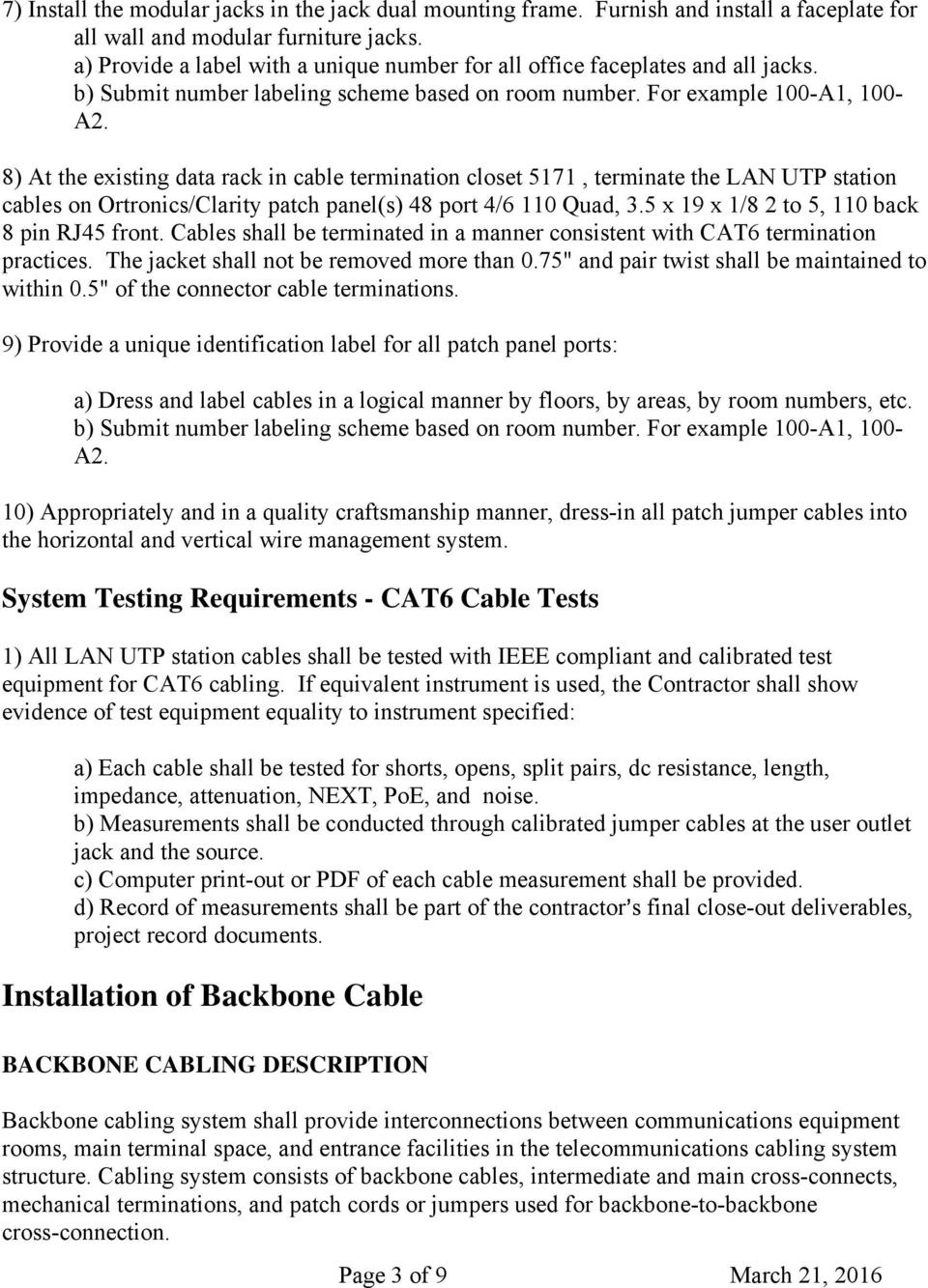 Cable Installation Project Pdf Split Ether Together With Patch Panel Wiring Also Manual Sobre 8 At The Existing Data Rack In Termination Closet 5171 Terminate Lan