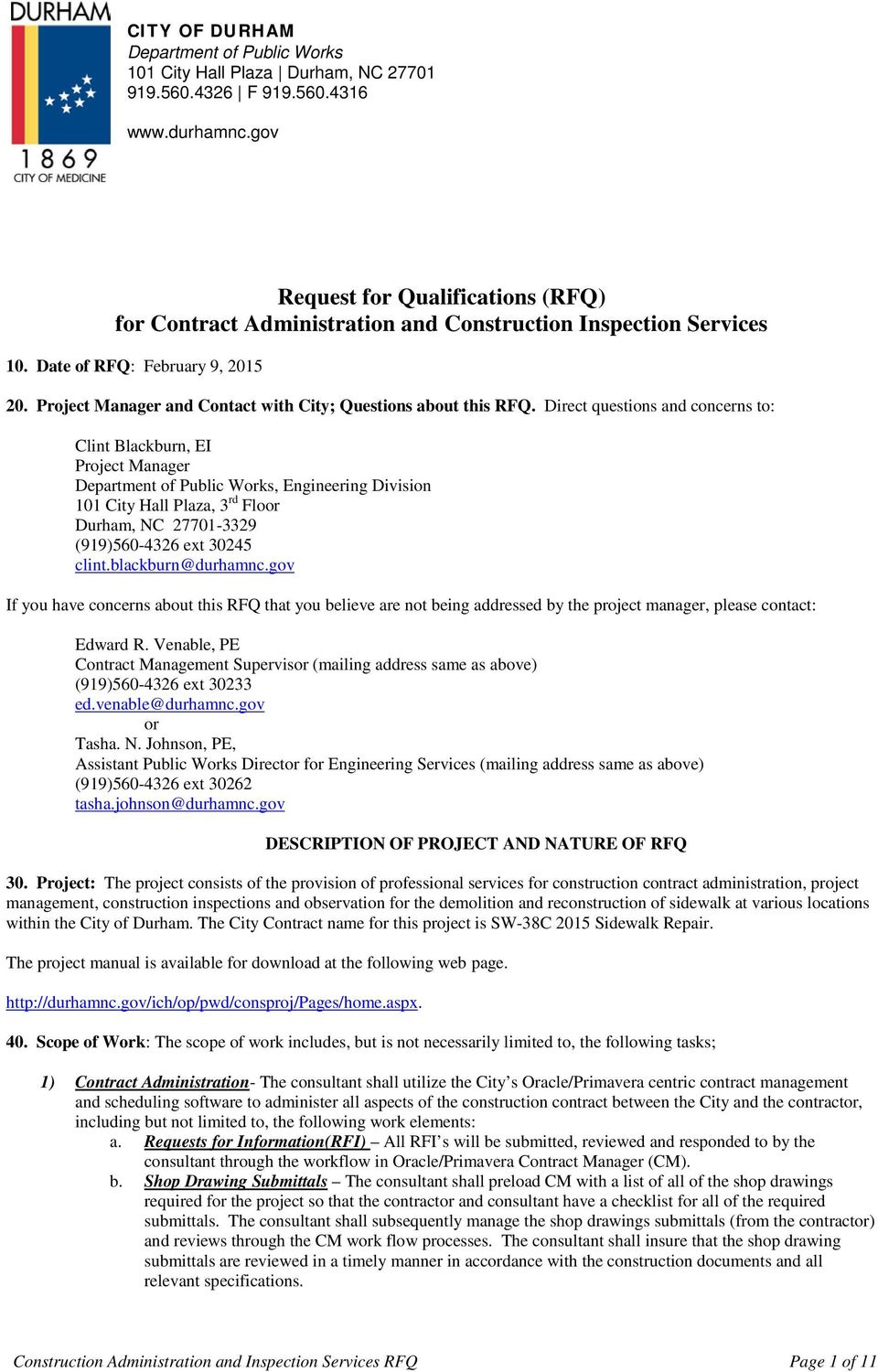 Request For Qualifications Rfq For Contract Administration And