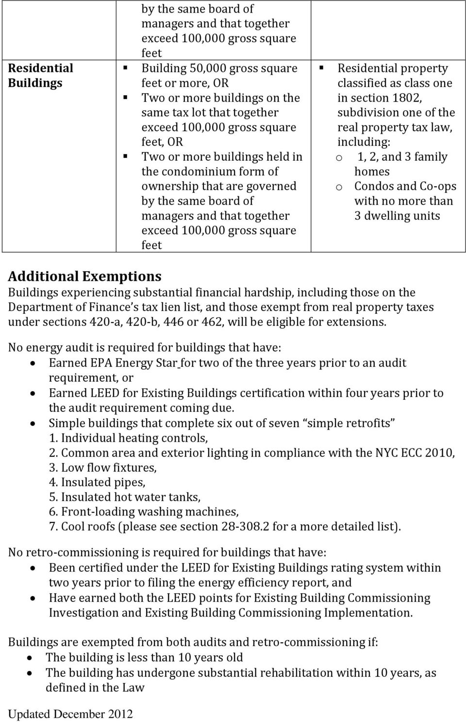 one of the real property tax law, including: o 1, 2, and 3 family homes o Condos and Co-ops with no more than 3 dwelling units Additional Exemptions Buildings experiencing substantial financial