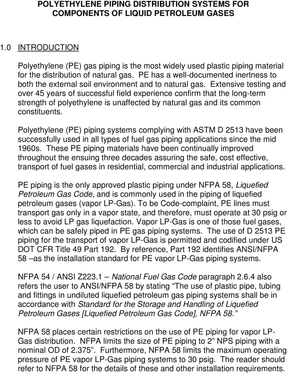 Polyethylene Piping Distribution Systems for Components of