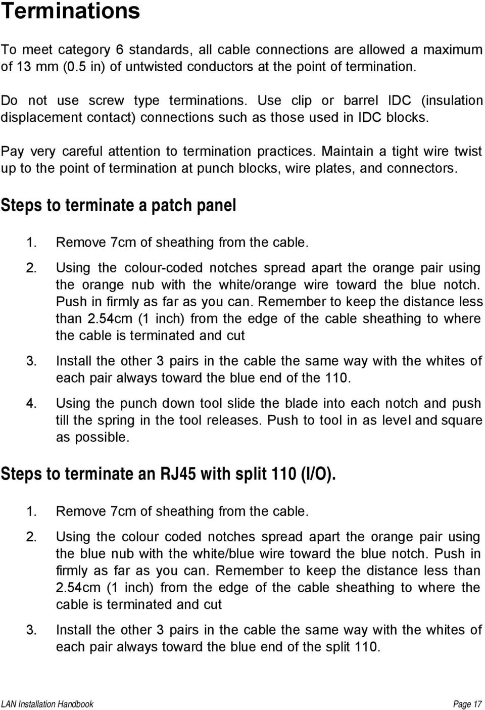 Lan Installation Handbook Pdf Split Ether Cable Together With Patch Panel Wiring Also Manual Sobre Maintain A Tight Wire Twist Up To The Point Of Termination At Punch Blocks
