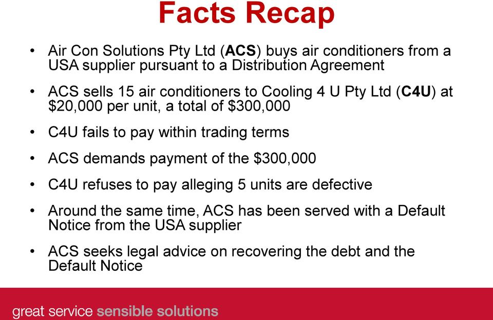 trading terms ACS demands payment of the $300,000 C4U refuses to pay alleging 5 units are defective Around the same time, ACS