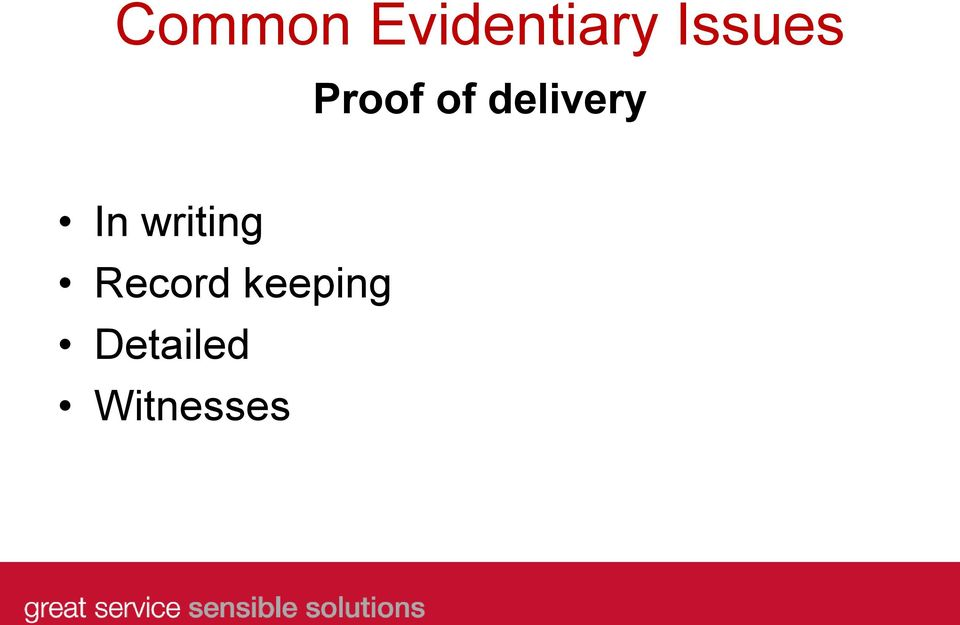 delivery In writing
