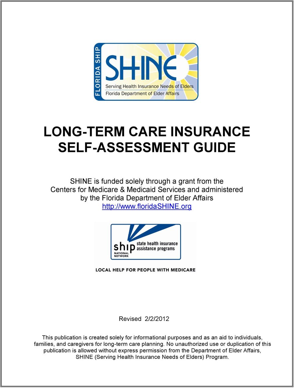 LONG-TERM CARE INSURANCE SELF-ASSESSMENT GUIDE - PDF
