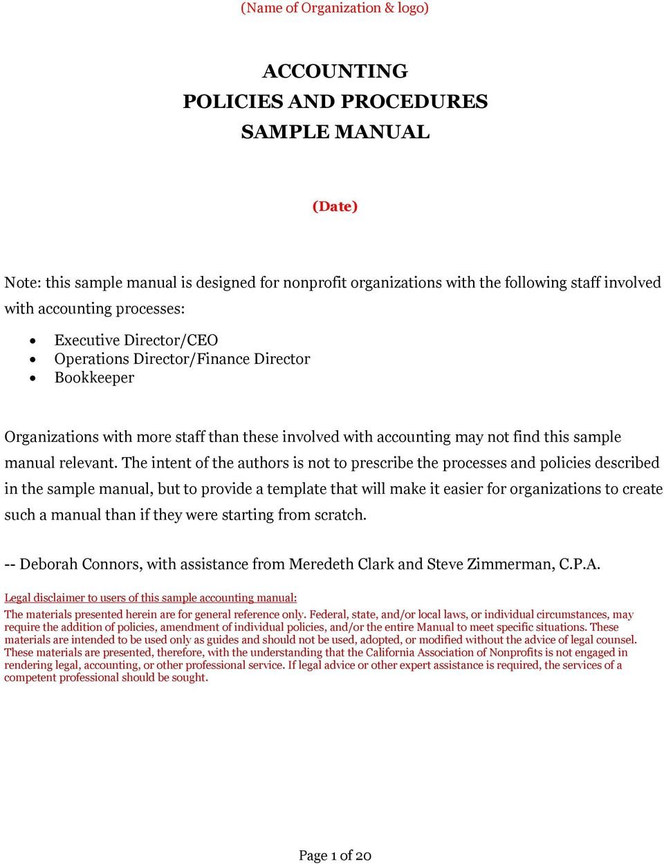 Accounting Policies And Procedures Sample Manual Pdf Free