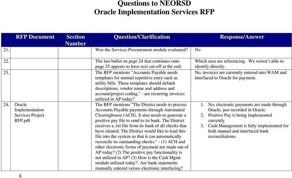 Questions to NEORSD Oracle Implementation Services RFP - PDF