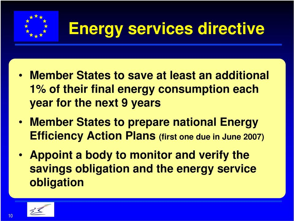national Energy Efficiency Action Plans (first one due in June 2007) Appoint a